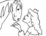 Dibujo de Princesa y caballo para colorear