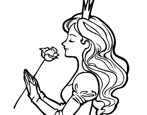 Dibujo de Princesa y rosa para Colorear - Dibujos.net