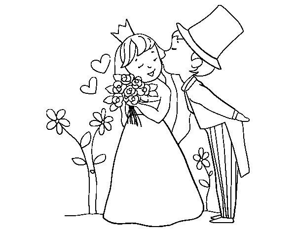 Dibujos De Principes Y Princesas Para Colorear: Dibujo De Príncipes Recién Casados Para Colorear