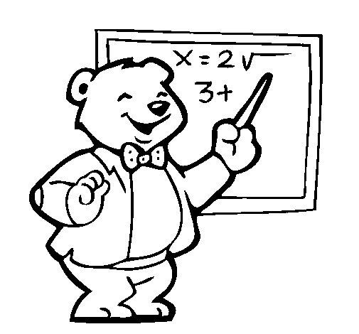 Dibujo de Profesor oso para Colorear