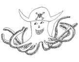 Dibujo de Pulpo pirata para colorear