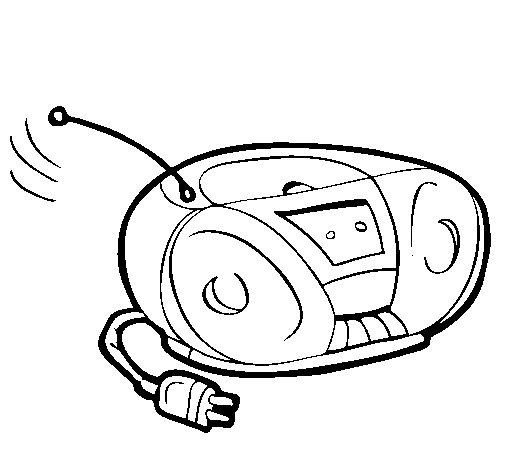 Dibujo de Radio cassette para Colorear