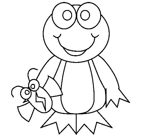 Dibujo de Rana e insecto para Colorear