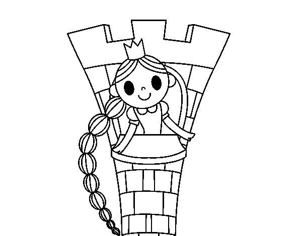 Dibujos Para Colorear De Rapunzel Bebe: Dibujo De Rapunzel En La Torre Para Colorear