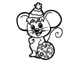 Dibujo de Ratón con Gorro de Navidad para colorear