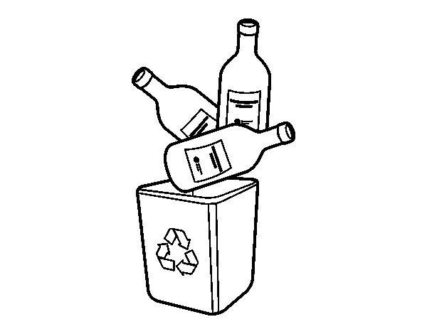 Dibujo de Reciclaje de vidrio para Colorear
