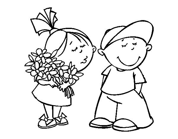 Dibujos de 2 nios besandose  Imagui