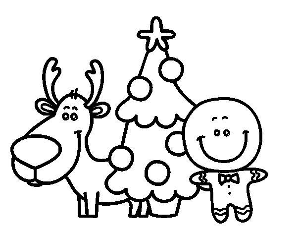Dibujo de reno rbol y mazap n para colorear - Renos para dibujar ...