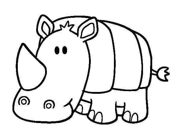 Dibujo de Rinoceronte bebé para Colorear