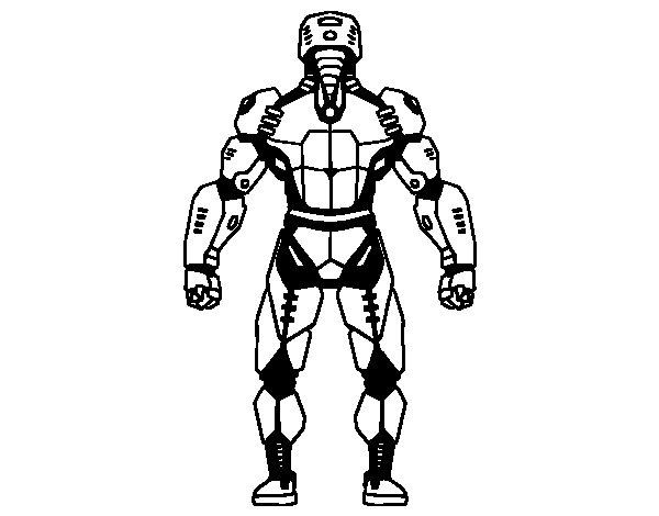 Dibujo de Robot luchador de espaldas para Colorear