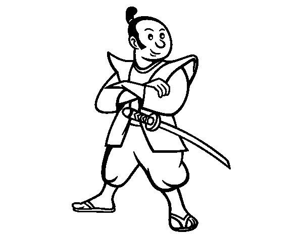 Dibujo de Samurái adulto para Colorear