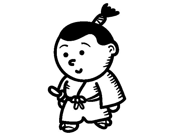 Dibujo de Samurái niño para Colorear
