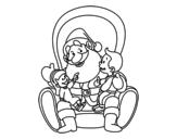 Dibujo de Santa Claus con niños para colorear