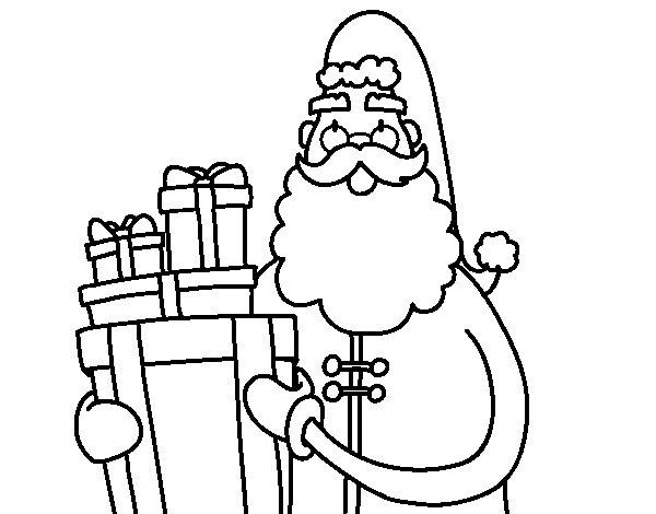 Dibujo de Santa Claus con regalos para Colorear