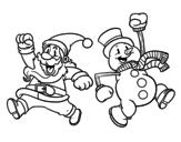 Dibujo de Santa Claus y muñeco de nieve saltando para colorear