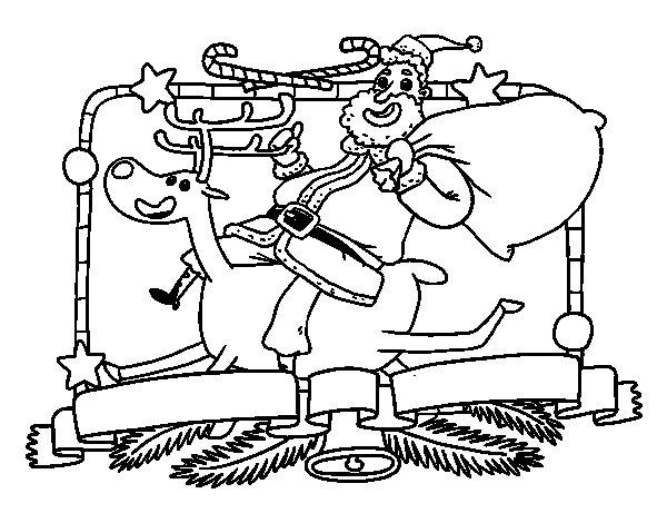 Dibujo de santa claus y reno de navidad para colorear for Dibujos de renos en navidad