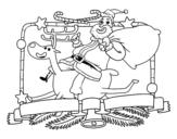 Dibujo de Santa Claus y reno de Navidad