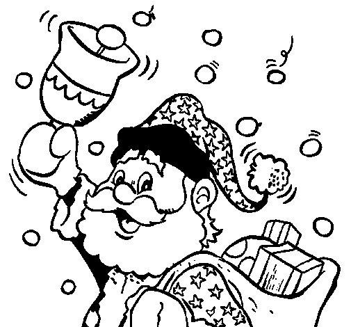 Dibujo de Santa Claus y su campana para Colorear