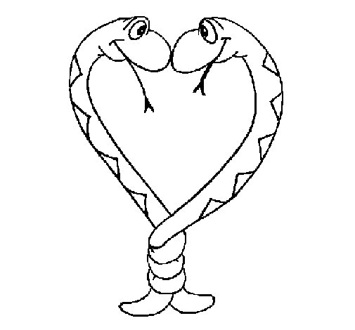 Dibujo de Serpientes enamoradas para Colorear