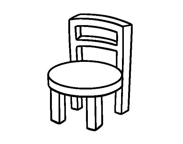 Dibujo de silla redonda para colorear for Silla para dibujar