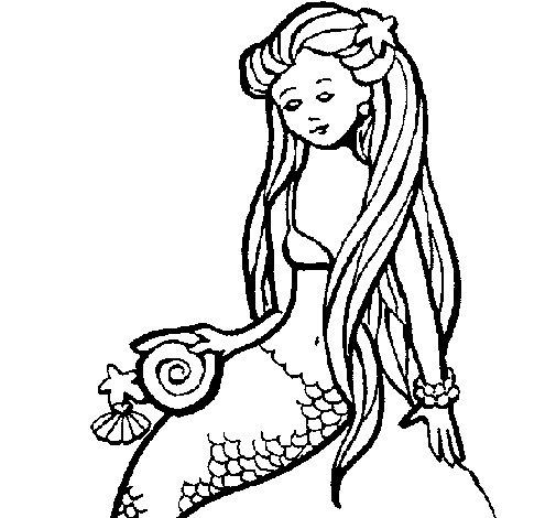 Dibujo de Sirena con caracola para Colorear