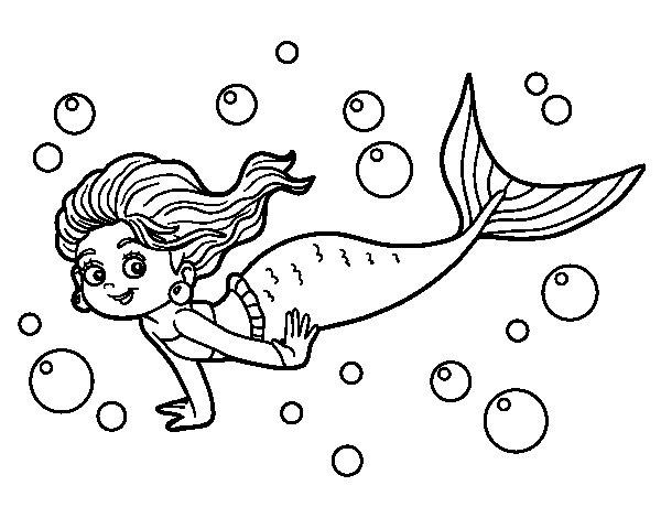 Dibujos De Sirenas Para Colorear Pintar E Imprimir: Dibujo De Sirena Del Mar Para Colorear