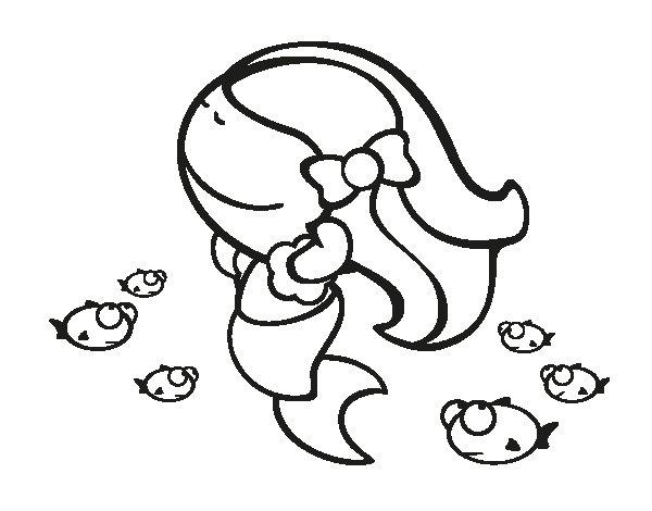 Dibujo de Sirena feliz para Colorear - Dibujos.net