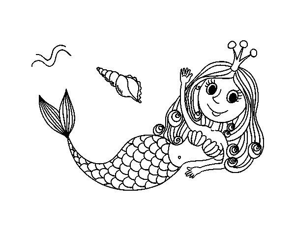 Dibujos De Sirenas Para Colorear Pintar E Imprimir: Dibujo De Sirena Saludando Para Colorear