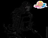 Dibujo de Sirena sentada para colorear