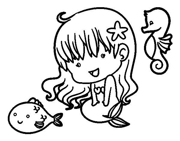 Dibujo de sirenita y sus amigos para colorear - Dibujos juveniles para imprimir ...