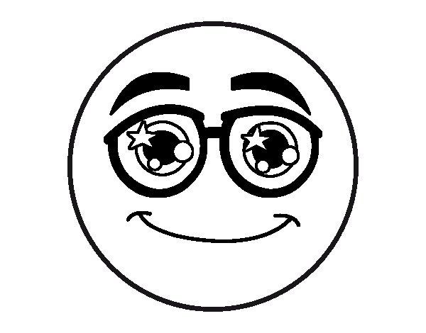 Dibujo de Smiley con gafas para Colorear - Dibujos.net