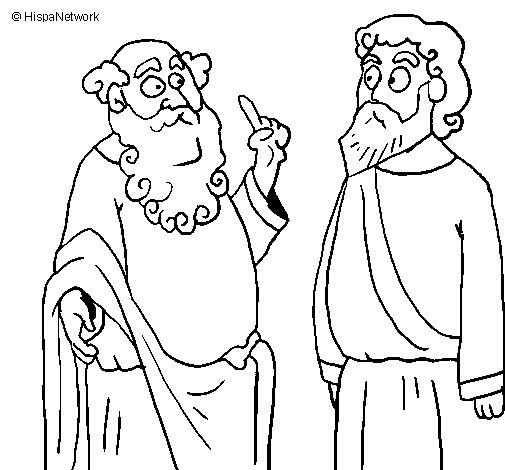Dibujo de Sócrates y Platón para Colorear