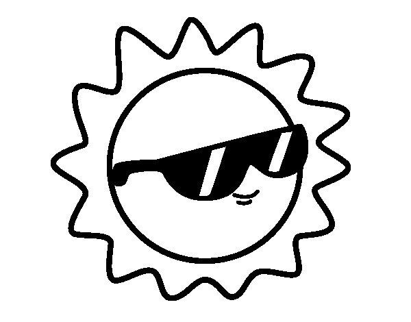 Dibujo de Sol con gafas para Colorear