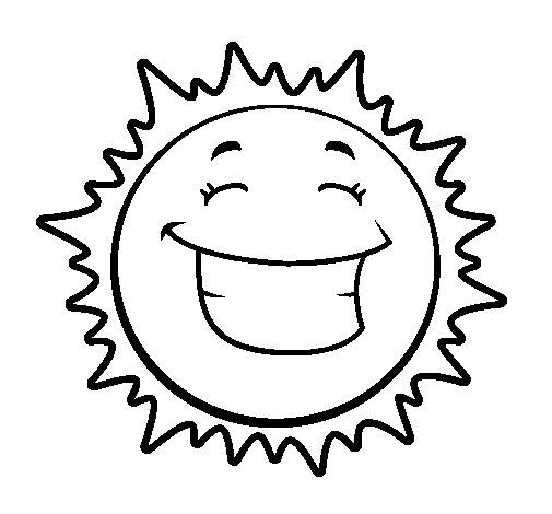Dibujo de Sol sonriendo para Colorear