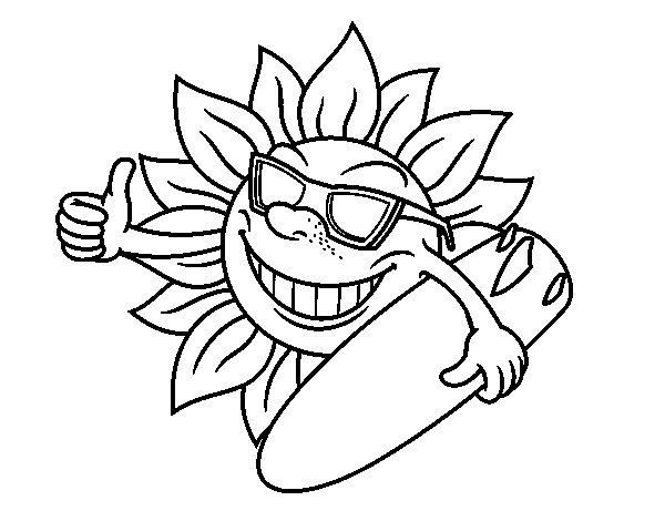 Dibujos Del Sol A Color: Dibujo De Sol Surfero Para Colorear