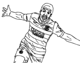 Dibujo de Suárez celebrando un gol para colorear