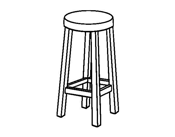 Dibujo de taburete alto para colorear for Silla para dibujar