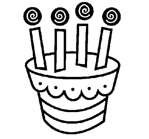 Dibujo de Tarta con velas para Colorear