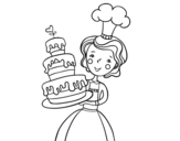 Dibujo de Tarta de cumpleaños casera para colorear
