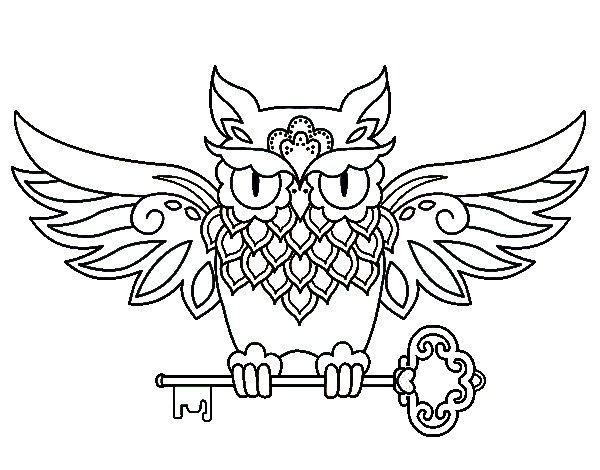 Dibujo de Tatuaje de búho con llave para Colorear