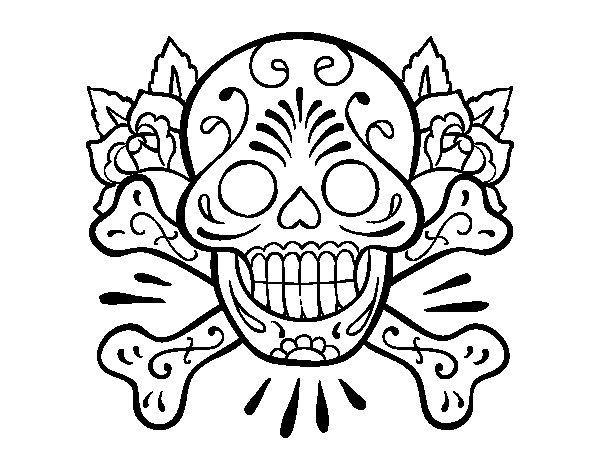 Tattoo Tatuaje Calavera Mejicana En El Muslo De Chica