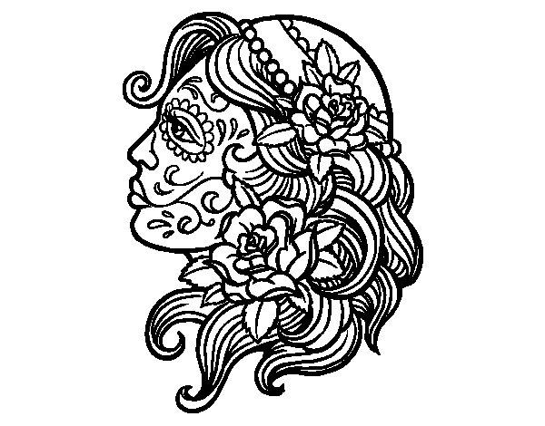 Dibujo de Tatuaje de Catrina para Colorear