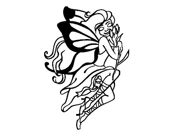 Dibujo de Tatuaje de hada para Colorear