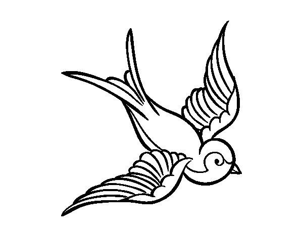 Dibujo de Tatuaje de pájaro para Colorear