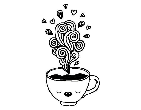 Harley Quinn Kawaii Para Colorear: Dibujo De Taza De Café Kawaii Para Colorear
