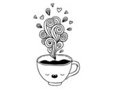 Dibujo de Taza de café kawaii para colorear