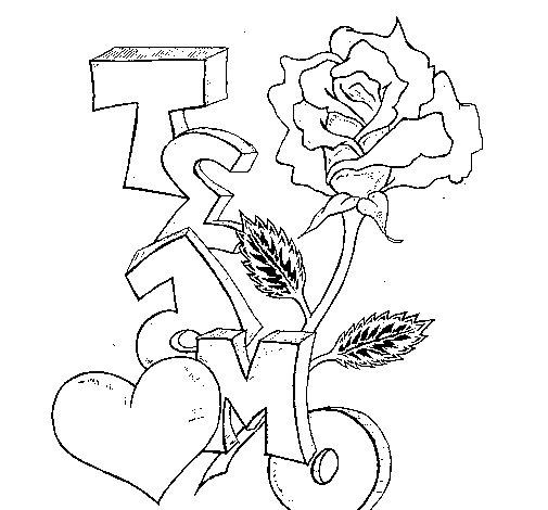 Dibujo de Te amo II para Colorear