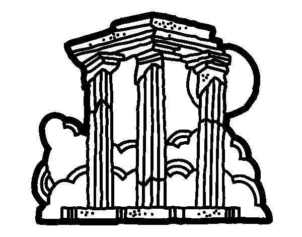 Dibujo de Templo de Zeus Olímpico para Colorear