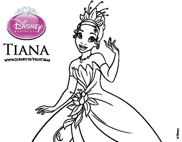 Dibujo de Tiana y el sapo - Princesa Tiana para Colorear - Dibujos.net