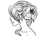 Dibujo de Tocado  de novia con flor  para colorear